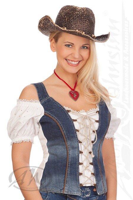 b065a2c06c56 Hangowear Trachten Damen Jeanshose kurz - ANDREA - blau online ...